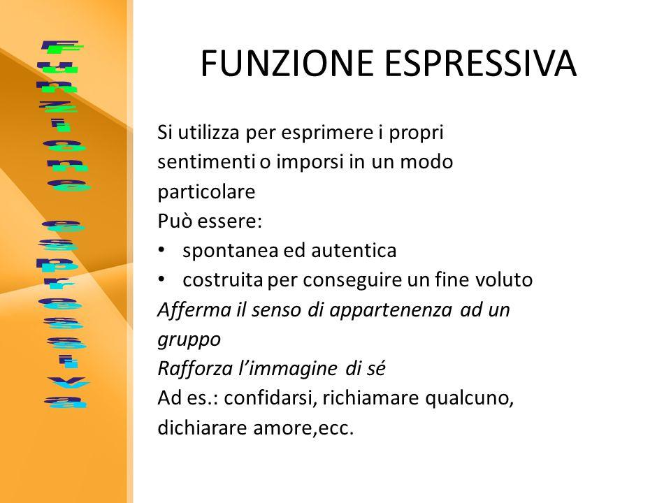 FUNZIONE ESPRESSIVA Funzione espressiva