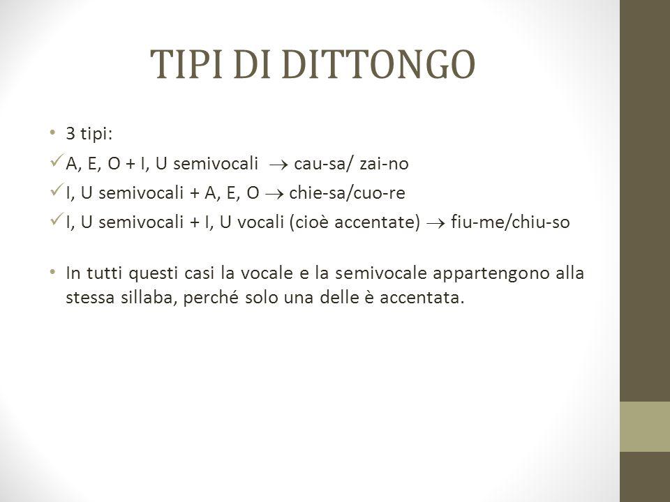 TIPI DI DITTONGO 3 tipi: A, E, O + I, U semivocali  cau-sa/ zai-no