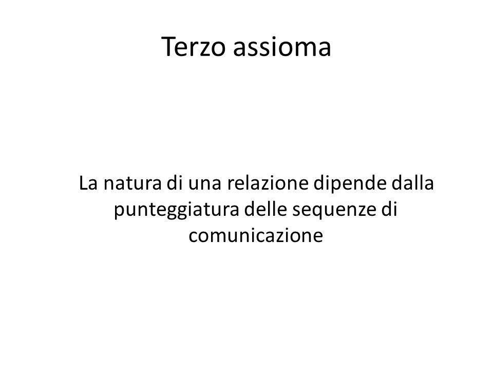 Terzo assioma La natura di una relazione dipende dalla punteggiatura delle sequenze di comunicazione.