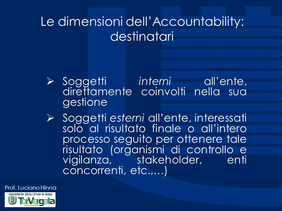 Le dimensioni dell'Accountability: destinatari