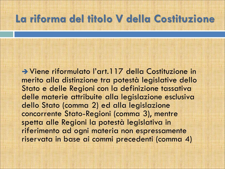 La riforma del titolo V della Costituzione