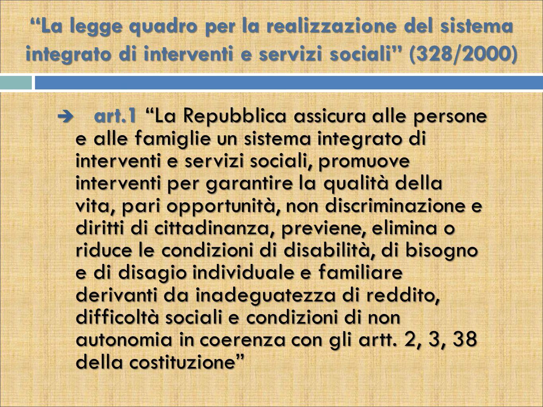 La legge quadro per la realizzazione del sistema integrato di interventi e servizi sociali (328/2000)