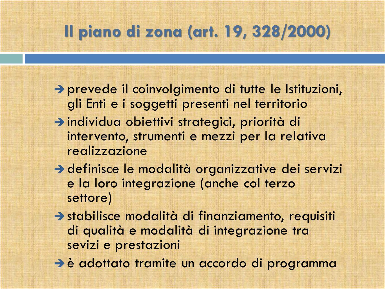 Il piano di zona (art. 19, 328/2000) prevede il coinvolgimento di tutte le Istituzioni, gli Enti e i soggetti presenti nel territorio.