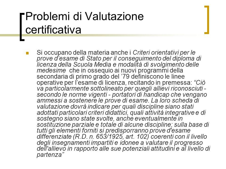 Problemi di Valutazione certificativa