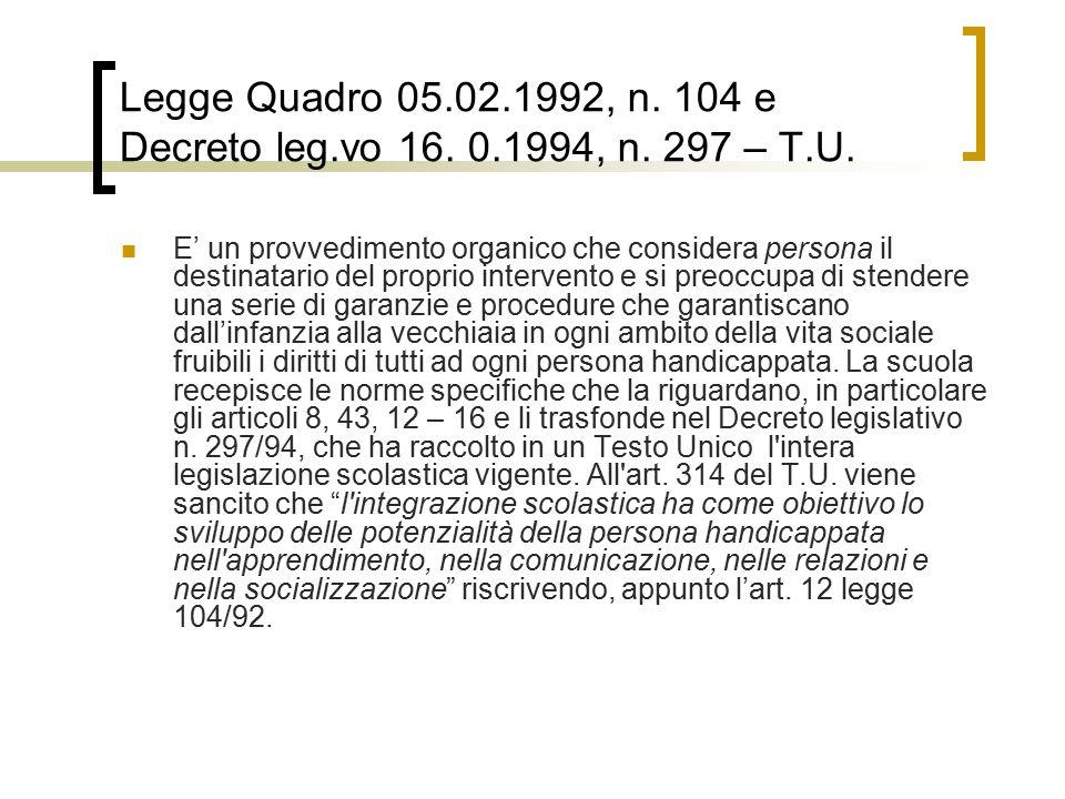 Legge Quadro 05. 02. 1992, n. 104 e Decreto leg. vo 16. 1994, n