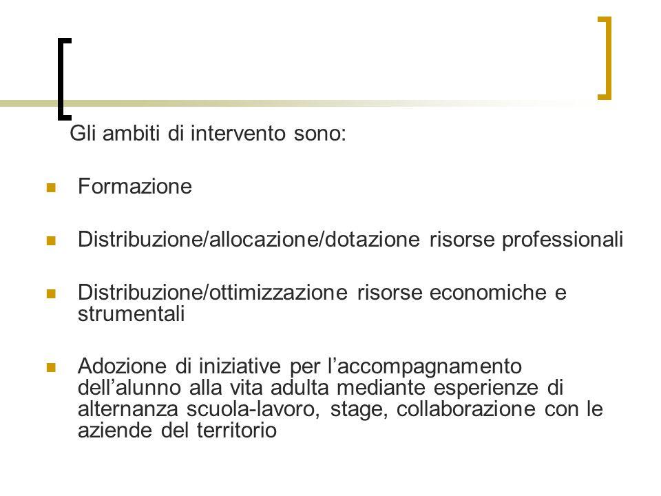 Gli ambiti di intervento sono:
