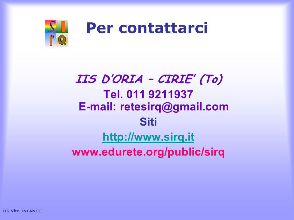 IIS D'ORIA – CIRIE' (To) Tel. 011 9211937 E-mail: retesirq@gmail.com