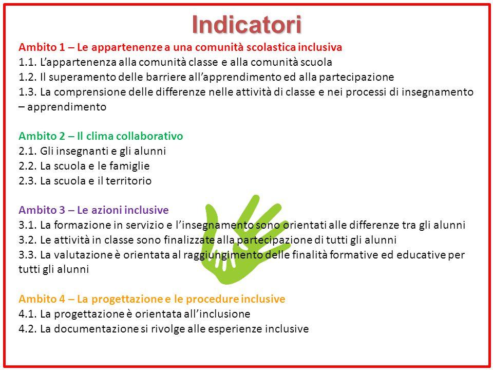 Indicatori Ambito 1 – Le appartenenze a una comunità scolastica inclusiva. 1.1. L'appartenenza alla comunità classe e alla comunità scuola.