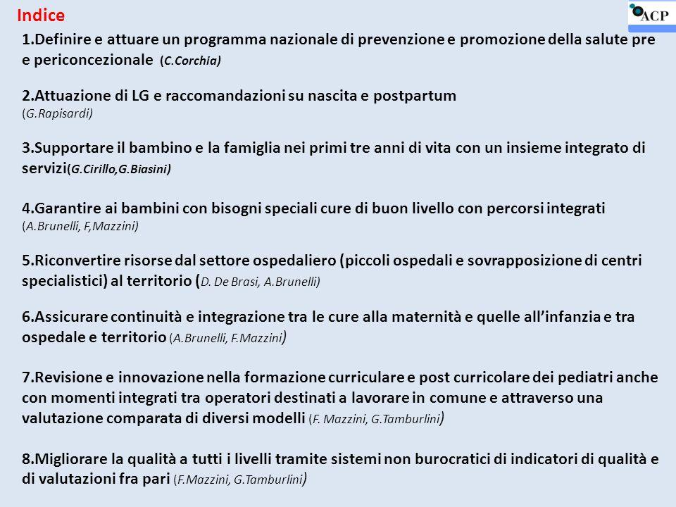 Indice 1.Definire e attuare un programma nazionale di prevenzione e promozione della salute pre e periconcezionale (C.Corchia)