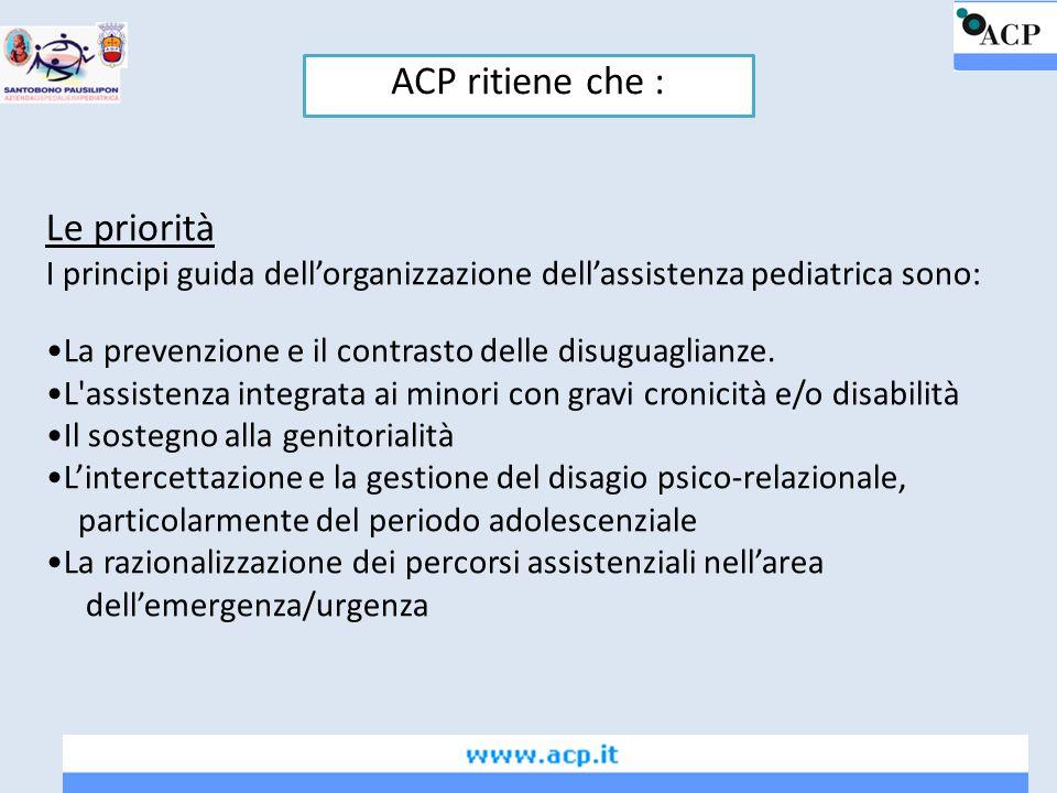 ACP ritiene che : Le priorità