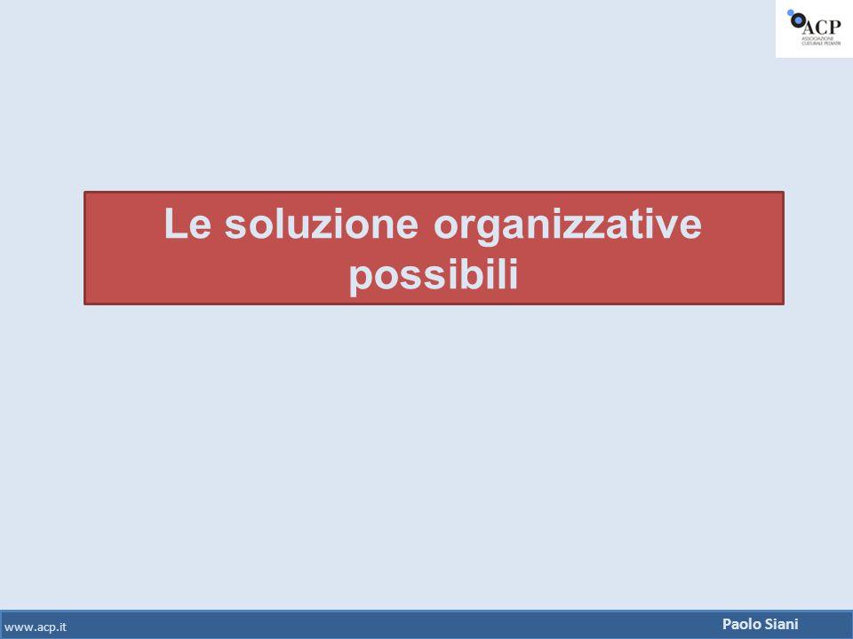 Le soluzione organizzative possibili