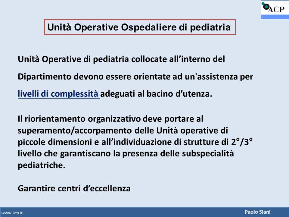 Unità Operative Ospedaliere di pediatria