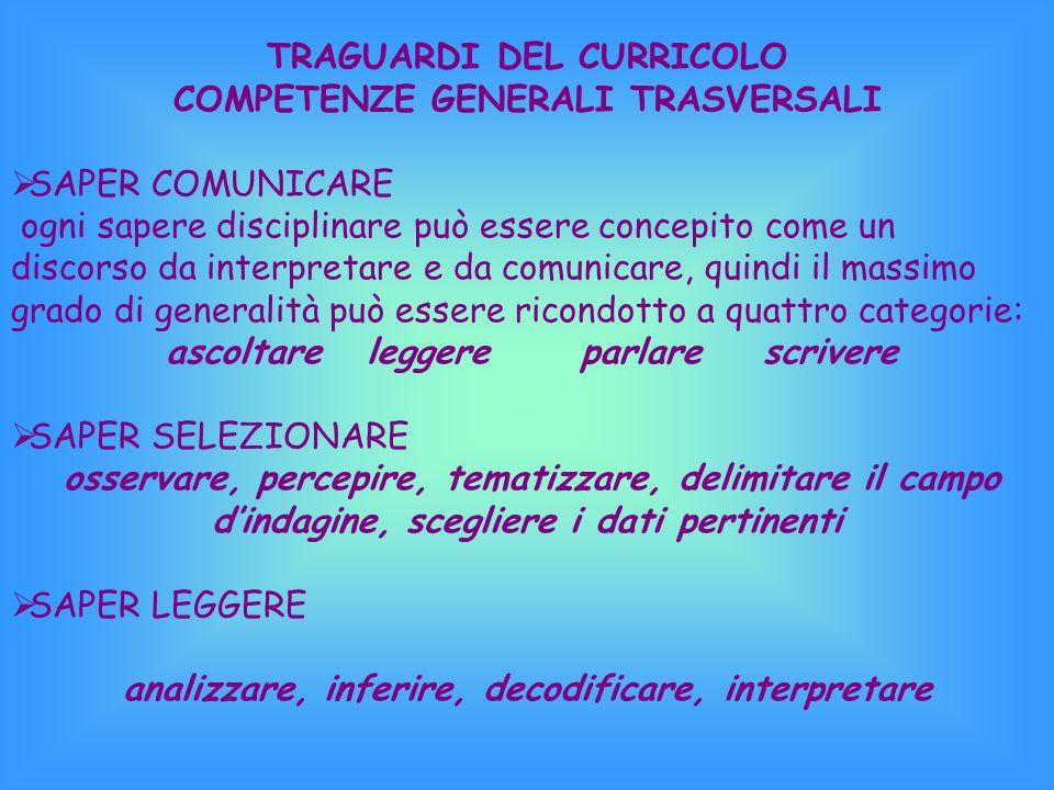 TRAGUARDI DEL CURRICOLO COMPETENZE GENERALI TRASVERSALI