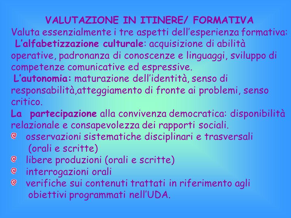 VALUTAZIONE IN ITINERE/ FORMATIVA