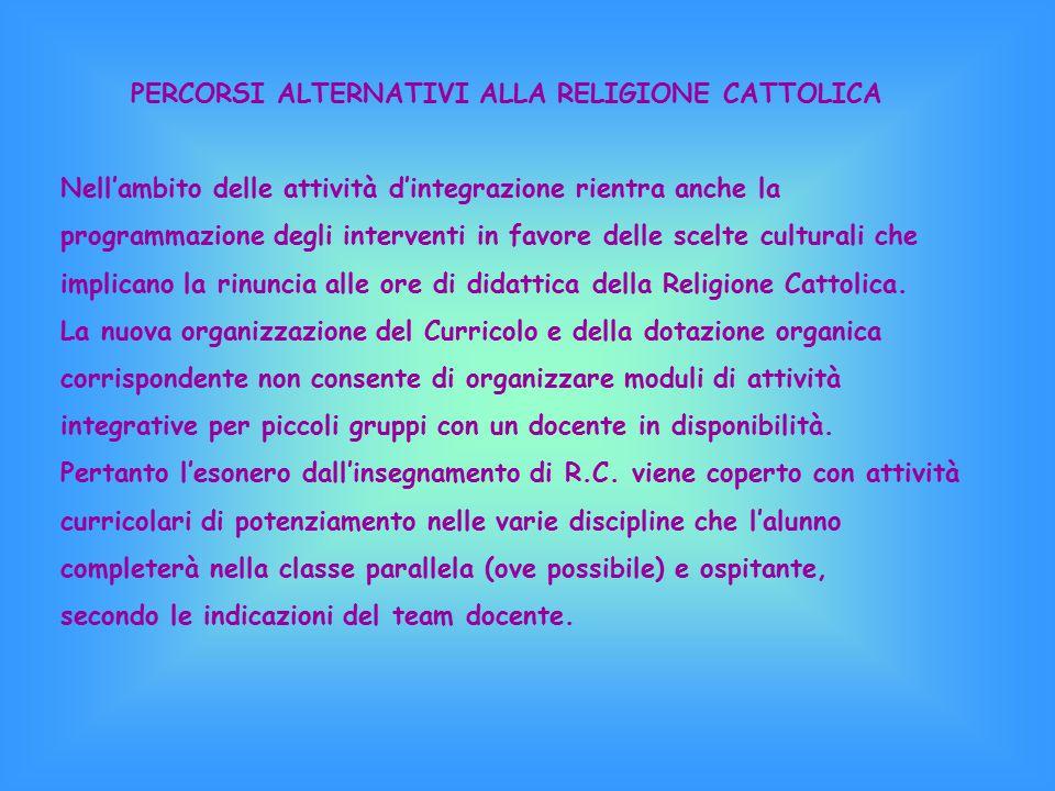 PERCORSI ALTERNATIVI ALLA RELIGIONE CATTOLICA