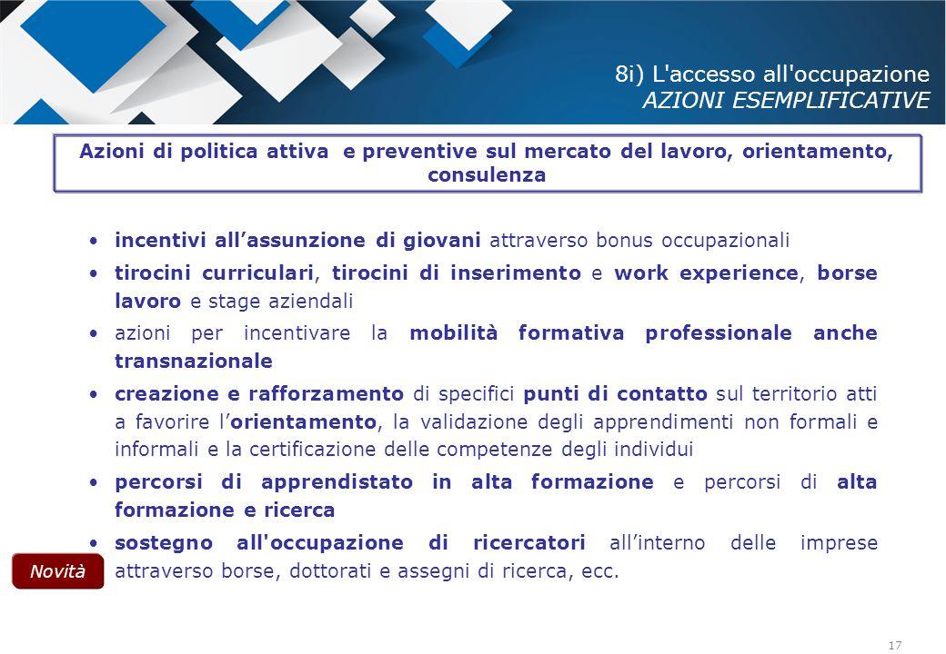 8i) L accesso all occupazione AZIONI ESEMPLIFICATIVE