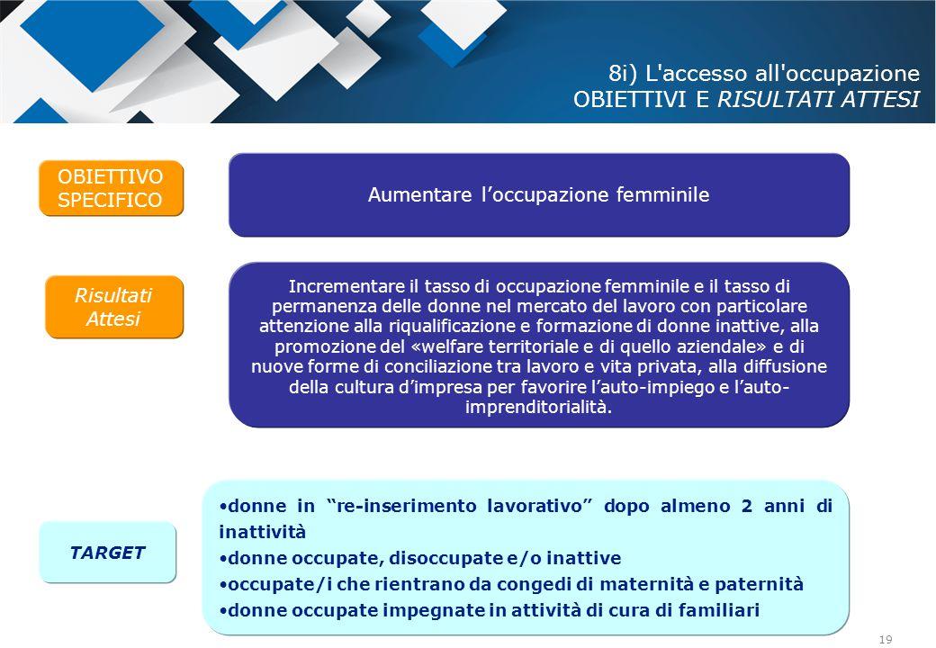 8i) L accesso all occupazione OBIETTIVI E RISULTATI ATTESI