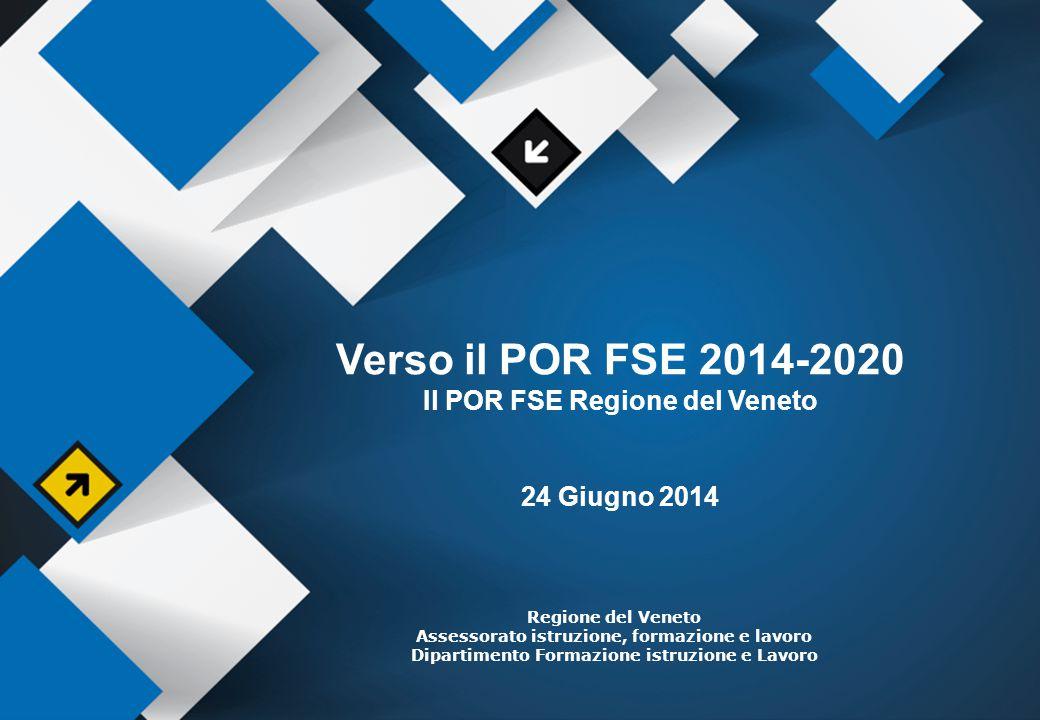 Verso il POR FSE 2014-2020 Il POR FSE Regione del Veneto