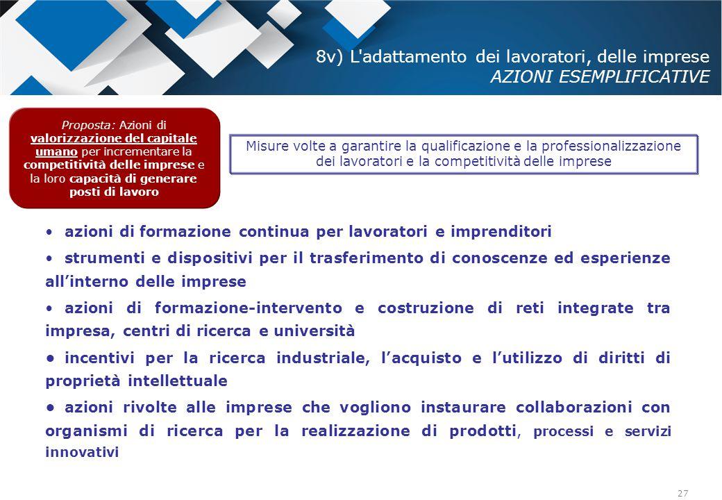 8v) L adattamento dei lavoratori, delle imprese AZIONI ESEMPLIFICATIVE