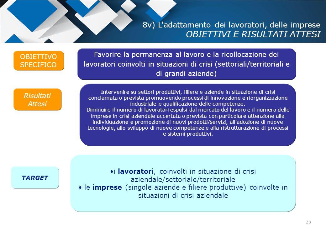 8v) L adattamento dei lavoratori, delle imprese OBIETTIVI E RISULTATI ATTESI