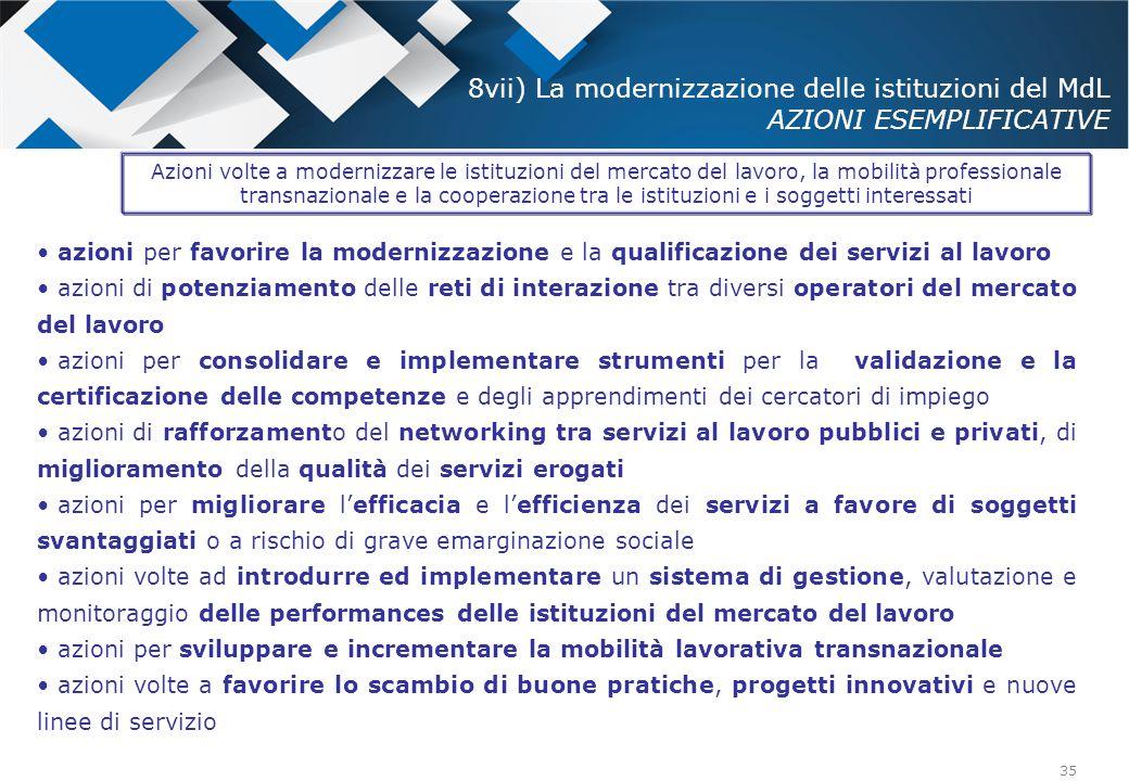 8vii) La modernizzazione delle istituzioni del MdL AZIONI ESEMPLIFICATIVE
