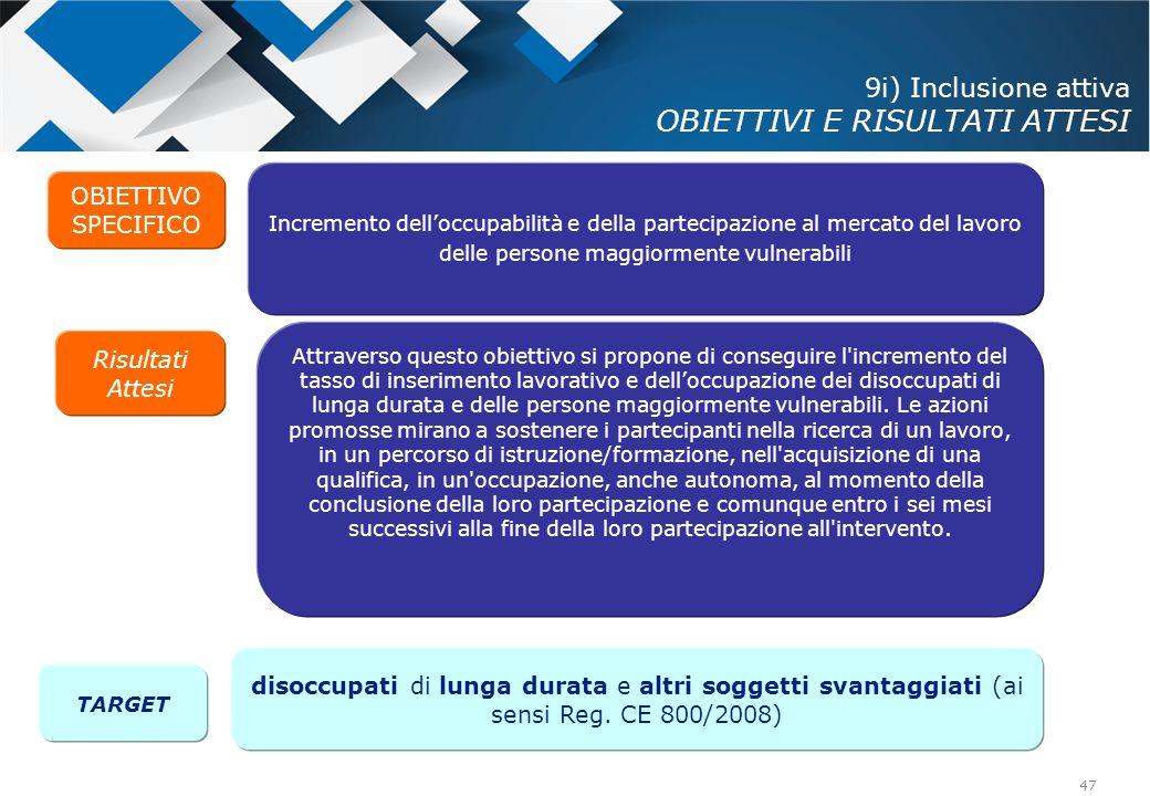 9i) Inclusione attiva OBIETTIVI E RISULTATI ATTESI