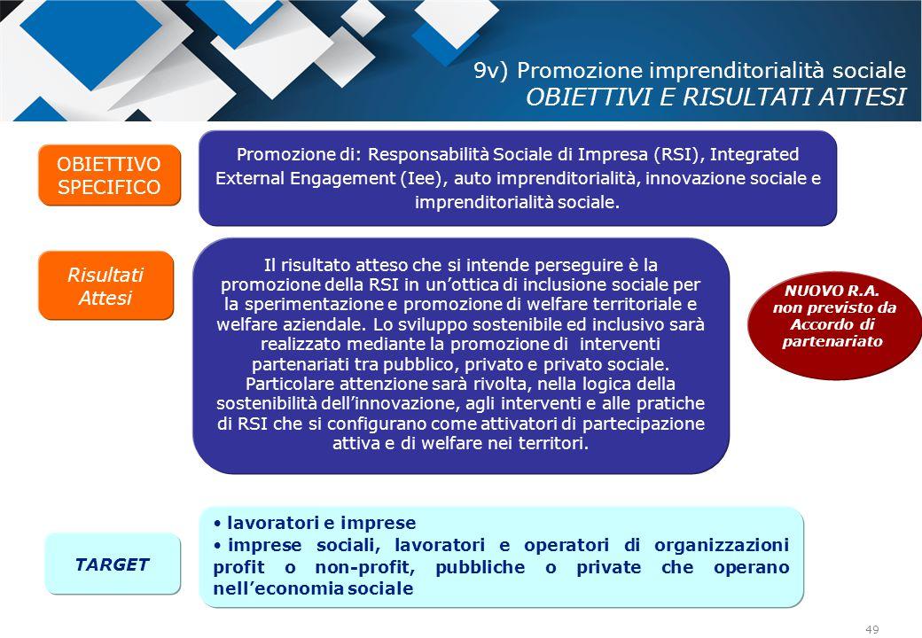 9v) Promozione imprenditorialità sociale OBIETTIVI E RISULTATI ATTESI
