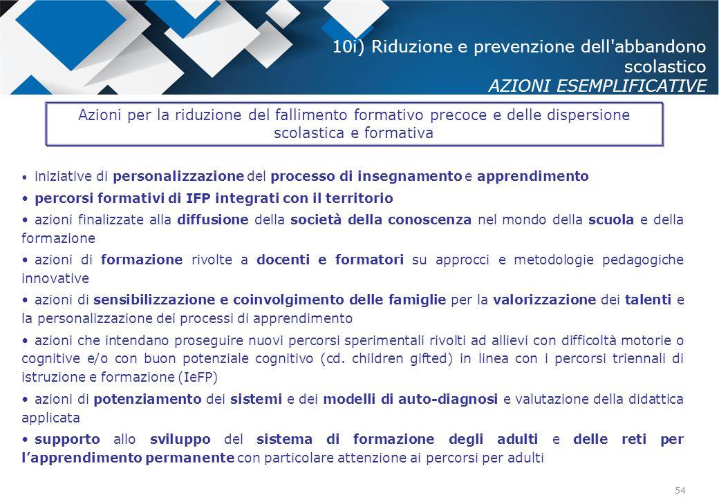 10i) Riduzione e prevenzione dell abbandono scolastico AZIONI ESEMPLIFICATIVE