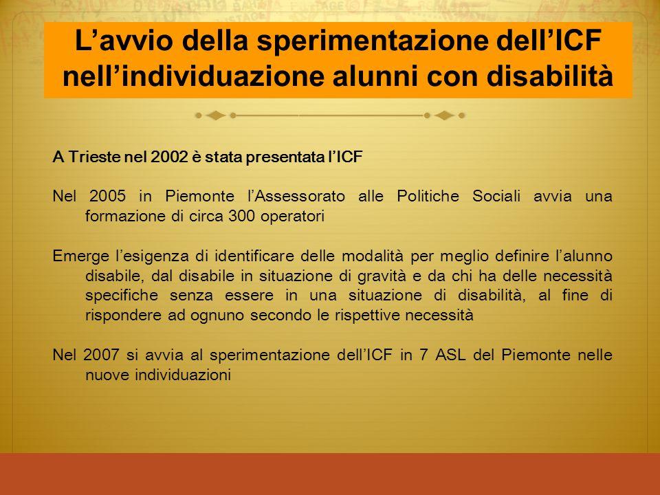L'avvio della sperimentazione dell'ICF nell'individuazione alunni con disabilità
