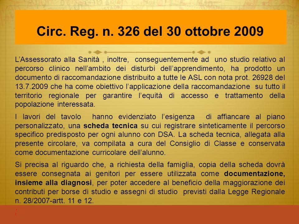 Circ. Reg. n. 326 del 30 ottobre 2009