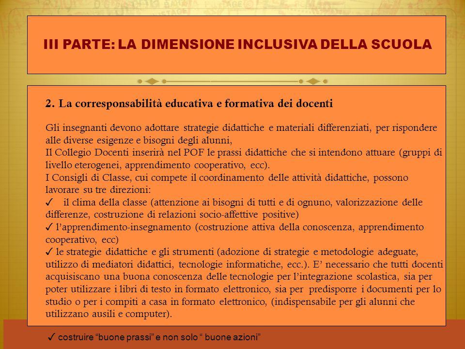 III PARTE: LA DIMENSIONE INCLUSIVA DELLA SCUOLA