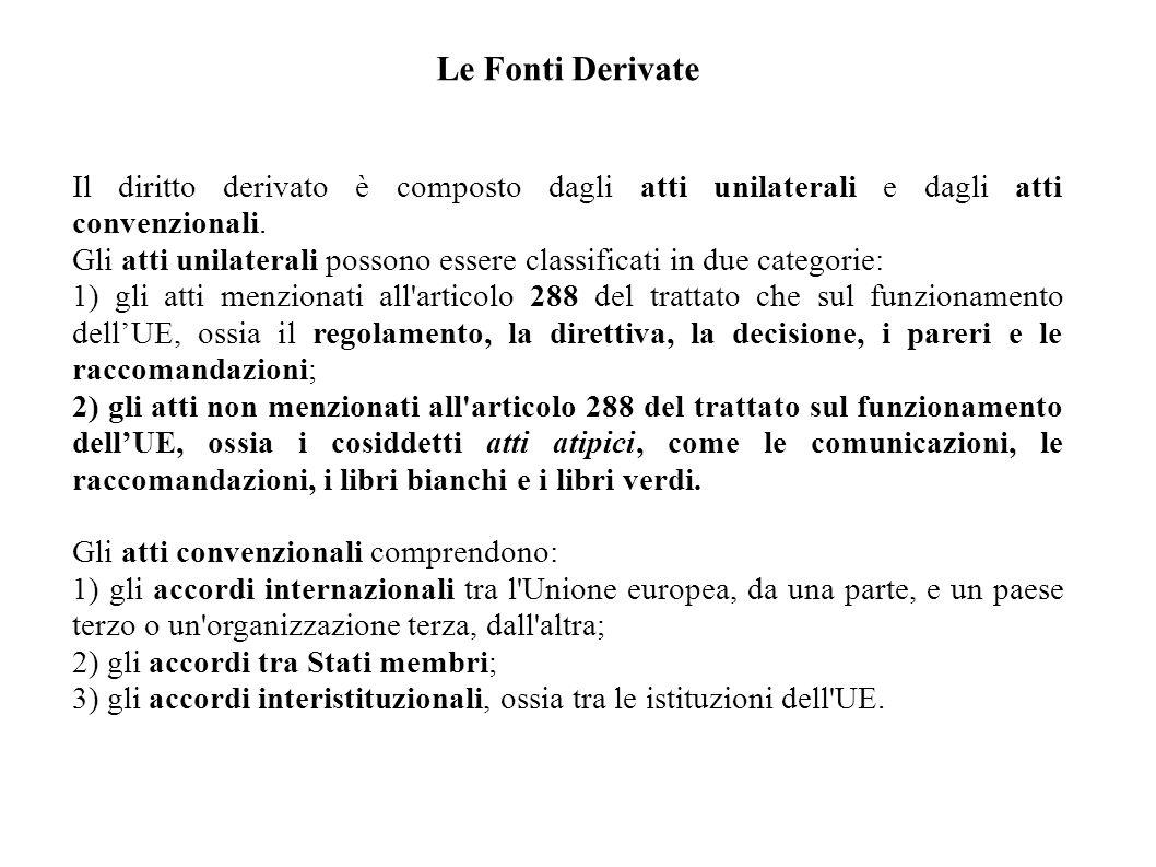 Le Fonti Derivate Il diritto derivato è composto dagli atti unilaterali e dagli atti convenzionali.