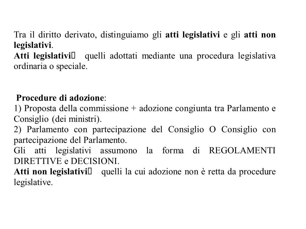 Tra il diritto derivato, distinguiamo gli atti legislativi e gli atti non legislativi.