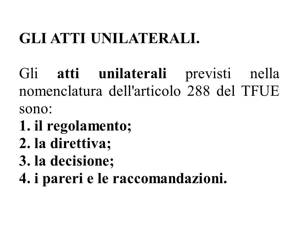 GLI ATTI UNILATERALI. Gli atti unilaterali previsti nella nomenclatura dell articolo 288 del TFUE sono: