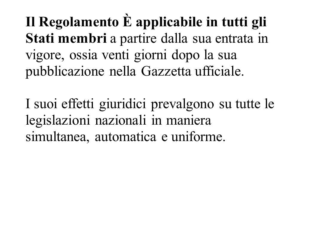 Il Regolamento È applicabile in tutti gli Stati membri a partire dalla sua entrata in vigore, ossia venti giorni dopo la sua pubblicazione nella Gazzetta ufficiale.