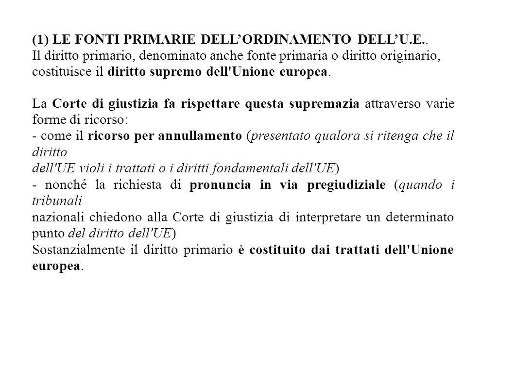 (1) LE FONTI PRIMARIE DELL'ORDINAMENTO DELL'U.E..