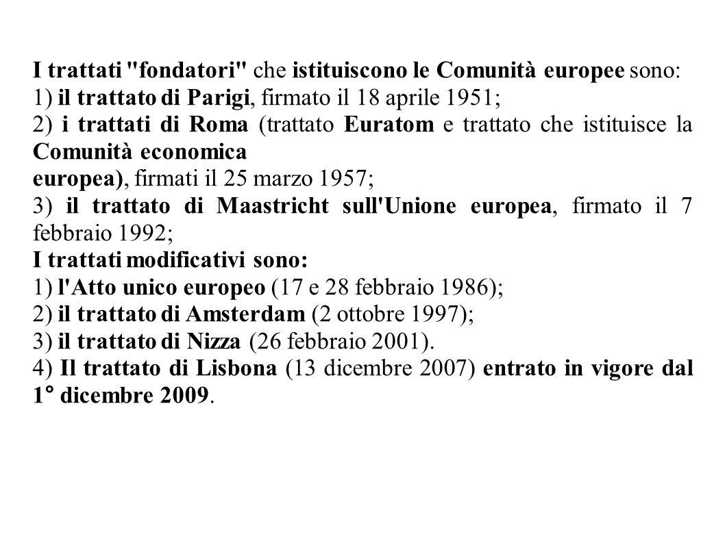 I trattati fondatori che istituiscono le Comunità europee sono:
