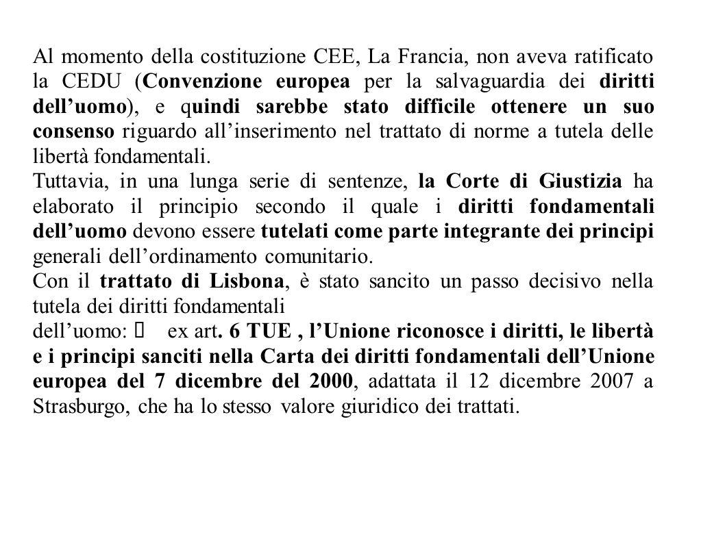 Al momento della costituzione CEE, La Francia, non aveva ratificato la CEDU (Convenzione europea per la salvaguardia dei diritti dell'uomo), e quindi sarebbe stato difficile ottenere un suo consenso riguardo all'inserimento nel trattato di norme a tutela delle libertà fondamentali.