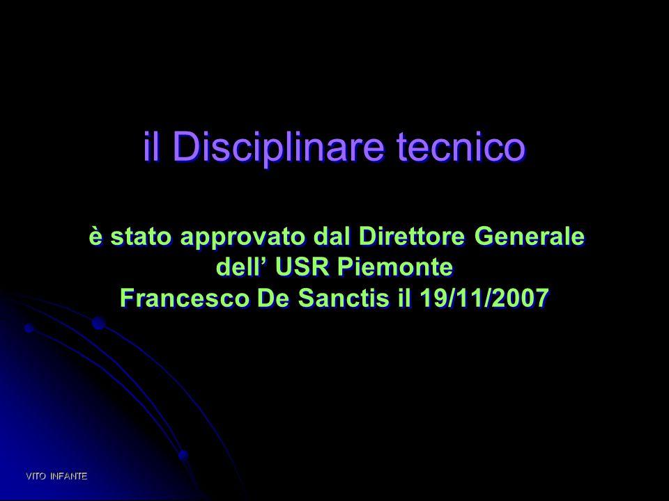 il Disciplinare tecnico è stato approvato dal Direttore Generale dell' USR Piemonte Francesco De Sanctis il 19/11/2007