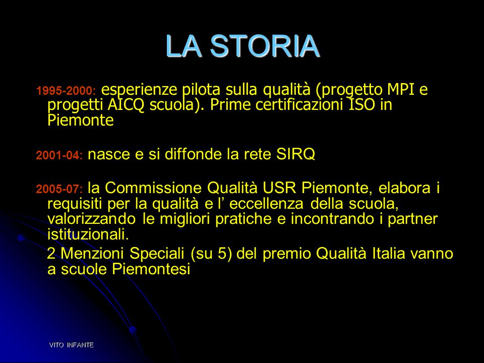 LA STORIA 1995-2000: esperienze pilota sulla qualità (progetto MPI e progetti AICQ scuola). Prime certificazioni ISO in Piemonte.