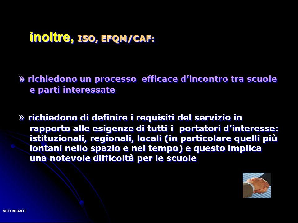 inoltre, ISO, EFQM/CAF: » richiedono un processo efficace d'incontro tra scuole e parti interessate.