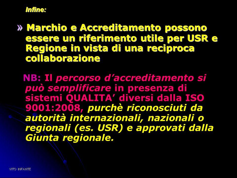 Infine: » Marchio e Accreditamento possono essere un riferimento utile per USR e Regione in vista di una reciproca collaborazione.
