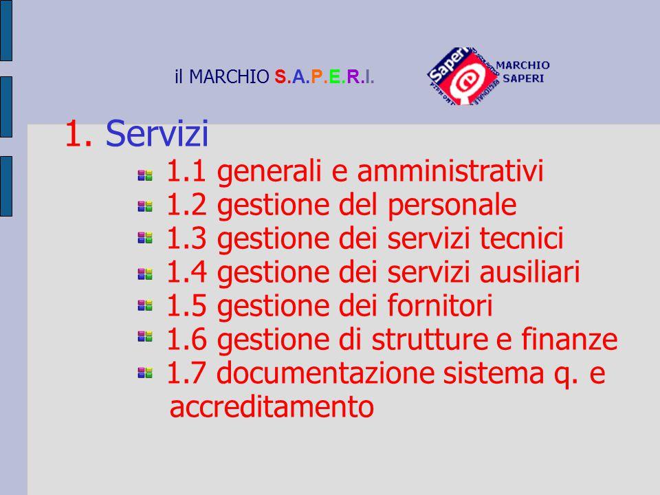 1. Servizi 1.1 generali e amministrativi 1.2 gestione del personale