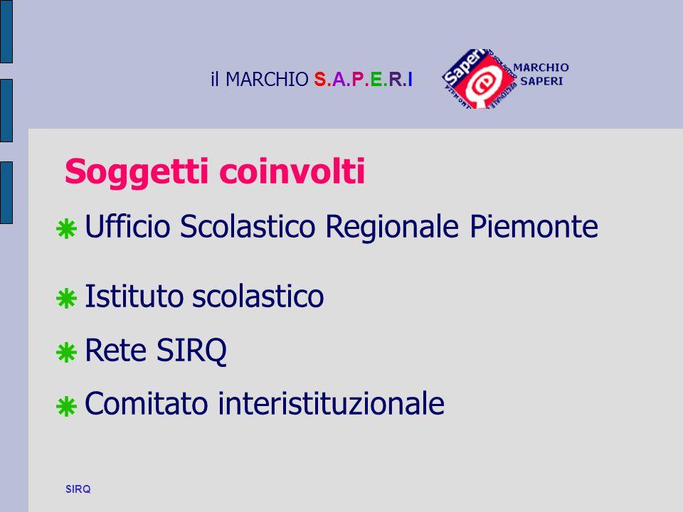 il MARCHIO S.A.P.E.R.I Soggetti coinvolti. Ufficio Scolastico Regionale Piemonte Istituto scolastico.