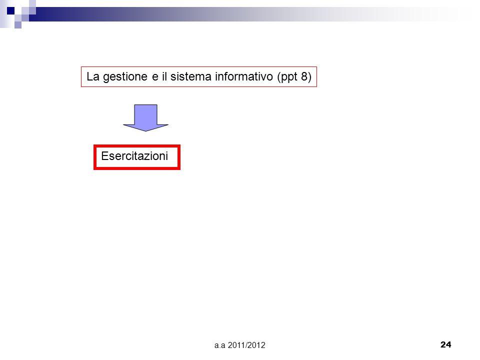 La gestione e il sistema informativo (ppt 8)