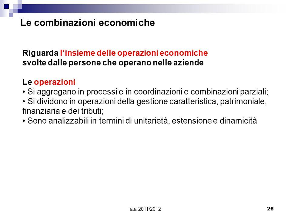 Le combinazioni economiche