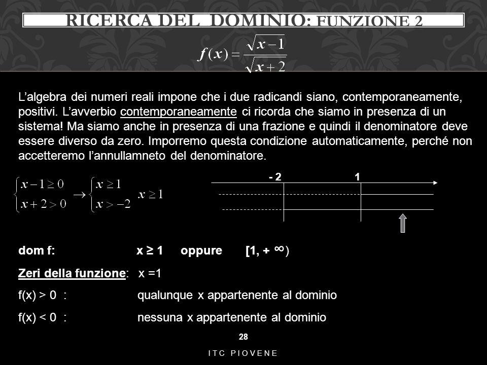 RICERCA DEL DOMINIO: funzione 2