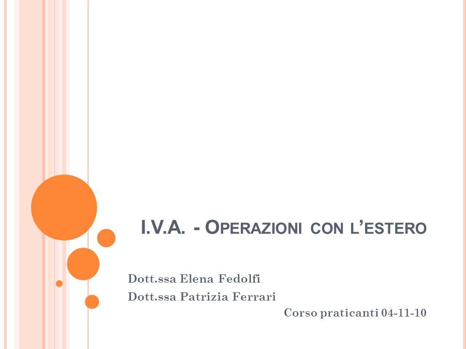 I.V.A. - Operazioni con l'estero