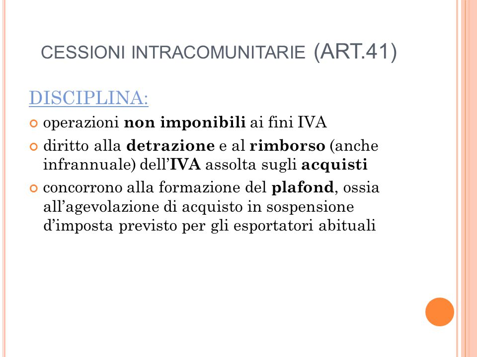 CESSIONI INTRACOMUNITARIE (ART.41)