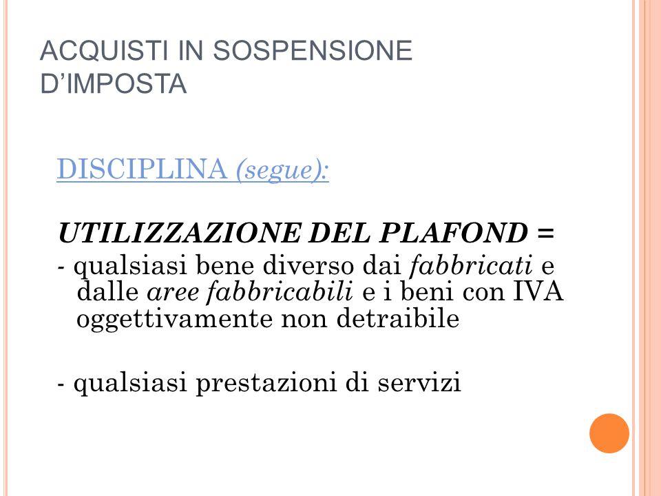ACQUISTI IN SOSPENSIONE D'IMPOSTA